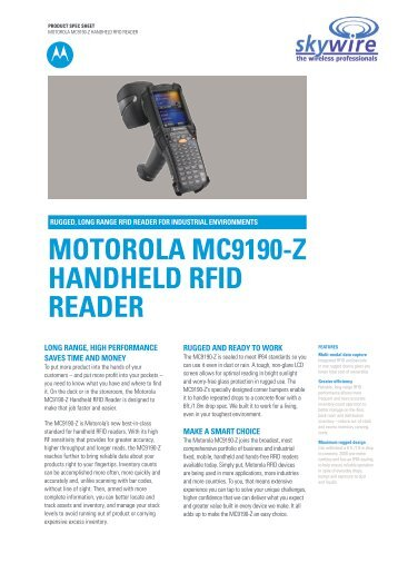 Motorola MC9190Z RFID Terminal Specifications