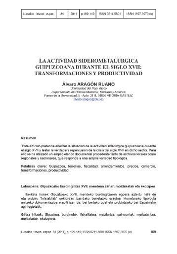 La actividad siderometalurgica guipuzcoana durante el ... - ingeba