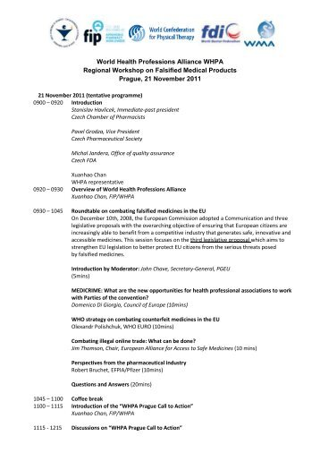 WHPA Prague workshop programme - World Health Professions ...