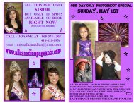 included in this one day only special - Miss All Canadian Pageants