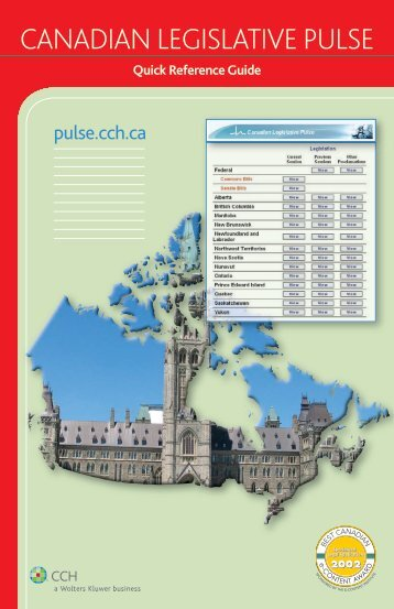 Canadian Legislative Pulse Quick Reference Guide - CCH Canadian
