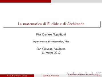 La matematica di Euclide e di Archimede - Dipartimento di ...