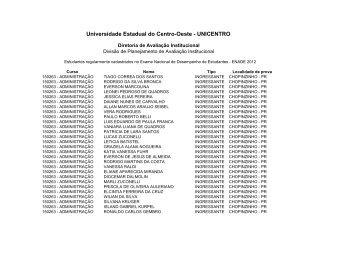 Lista de inscritos para o ENADE 2012 - Universidade Estadual do ...