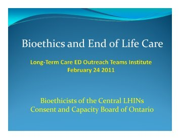 Bioethics and End of Life Care - GEM