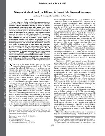 Nitrogen Yield and Land Use Efficiency in Annual Sole Crops and ...