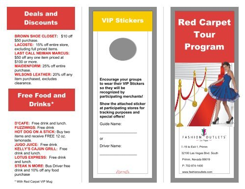 Red Carpet Tour Program Fashion Outlets Of Las Vegas