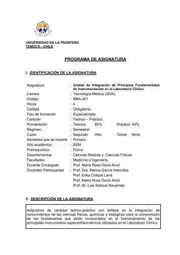 programa de asignatura - Facultad de Medicina UFRO - Universidad ...