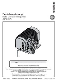 Betriebsanleitung - Motor-Membrandosierpumpe alpha ... - ProMinent