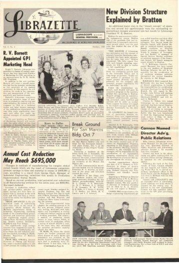 October, 1960 Librazette - Librascope Memories