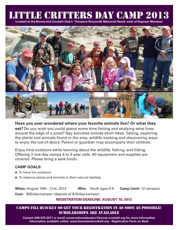 little Critters Day Camp 2013 - Boone and Crockett Club