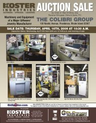 Auction sale - Koster Industries, Inc.