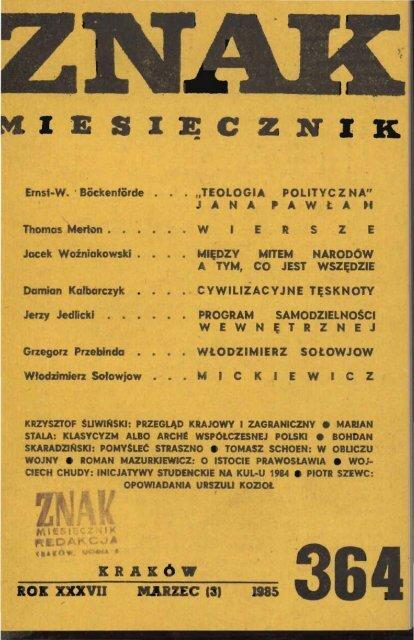 Nr 364 Marzec 1985 Znak
