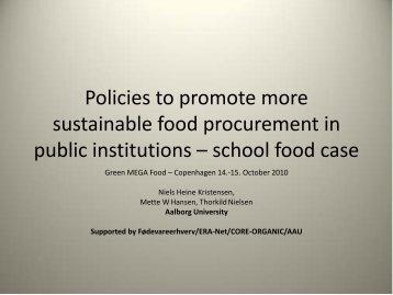 Policies to promote more sustainable food procurement in ... - Menu
