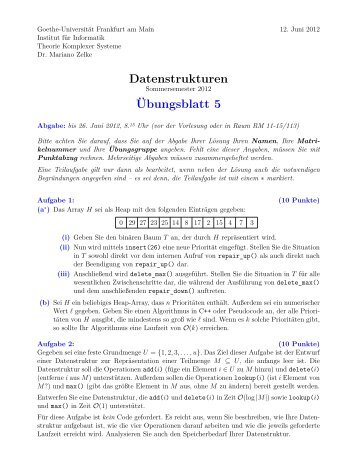 Übungsblatt 5 - Theorie komplexer Systeme - Goethe-Universität