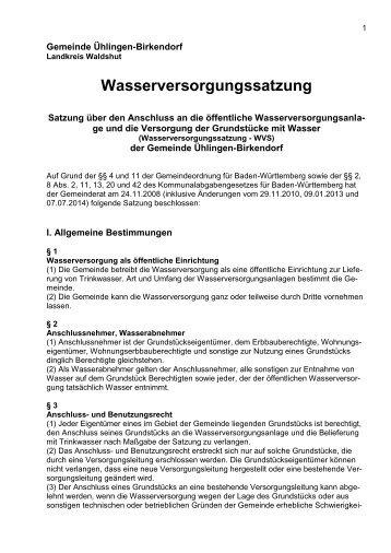 Wasserversorgungssatzung (PDF) - Gemeinde Ühlingen-Birkendorf