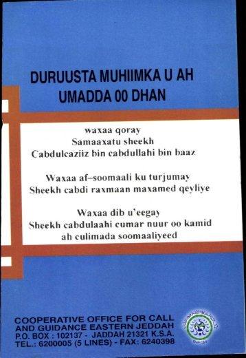waxaa qoray Samaaxatu sheekh Cabdulcaziiz bin ... - Islamicbook.ws