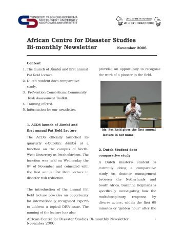 November 2006 - African Centre for Disaster Studies - NWU