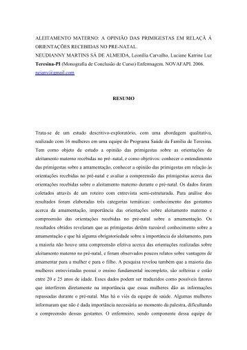 aleitamento materno: a opinião das primigestas em ... - Sispnh.com.br