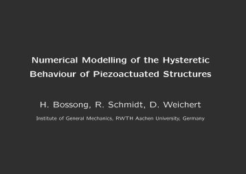 Numerical Modelling of the Hysteretic Behaviour of Piezoactuated ...