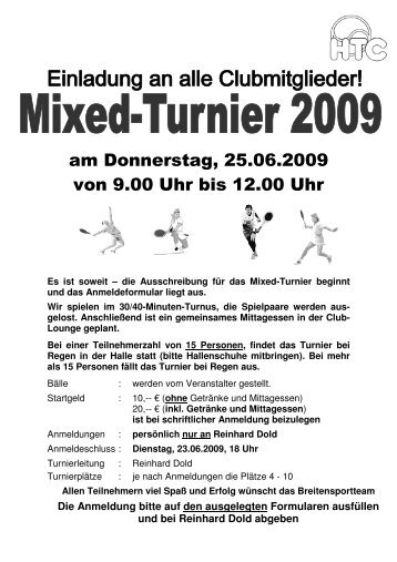 Mixed-Turnier am Donnerstag, 25.06.2009