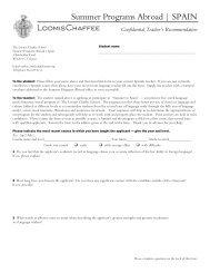 Teacher Recommendation - The Loomis Chaffee School