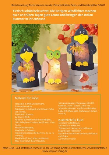 Bastelanleitung herbstliche Tischlaternen - OZ Verlag