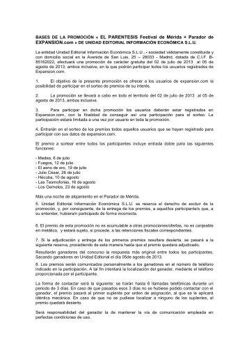 ANEXO I – BASES DE LA PROMOCIÓN - Expansión