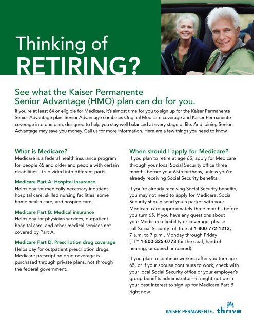 Download the New Retiree Flyer - Kaiser Permanente Federal