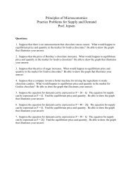 Sample Supply and Demand Exercises for Principles of ...