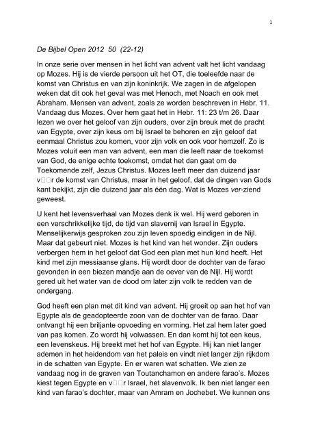 De Bijbel Open 2012 50 (22-12) In onze serie over mensen in het ...