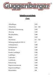 Inhaltsverzeichnis Zink