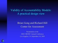 Validity of Accountability Models - Center for Assessment