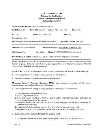Syllabus - Essex County College Faculty Web Server