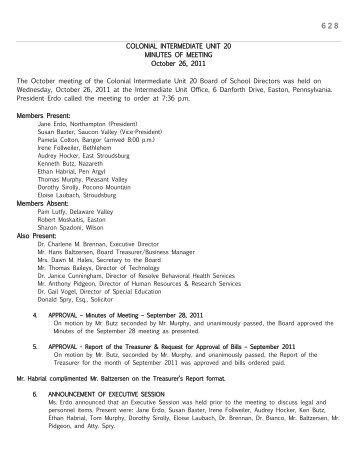 October 26, 2011 - Colonial Intermediate Unit 20