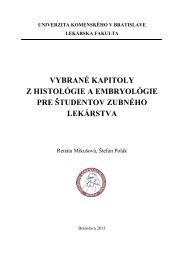 vybrané kapitoly z histológie a embryológie pre študentov zubného ...