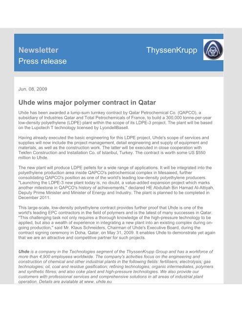 Newsletter ThyssenKrupp Press release - Uhde India Limited