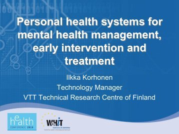 Personal health systems for mental health management, early ...