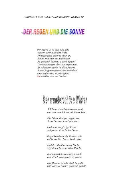 Gedichte Von Alexander Randow Klasse Grundschule