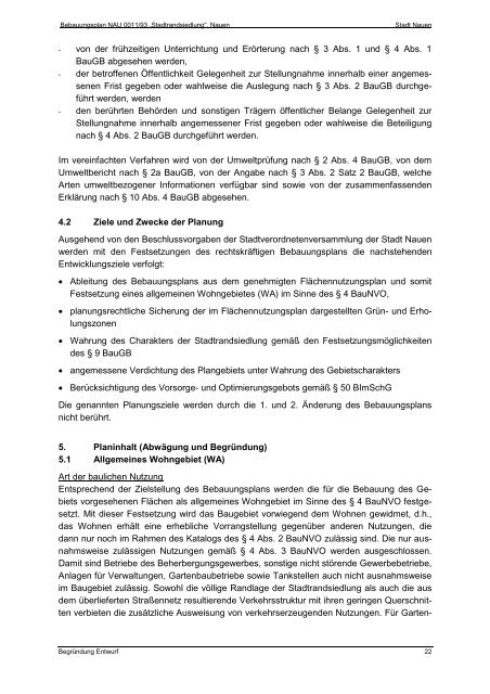 Begründung zur 2. Änderung des Bebauungsplans NAU ... - Nauen