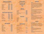 choices meats bocoles beverages empanadas tortas lunch menu ...