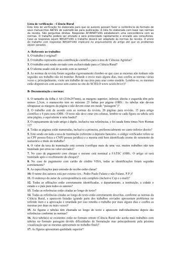 Lista de verificação – Ciência Rural A- Referente ao ... - UFSM