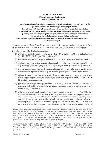 UCHWAŁA NR 2/2007 Komisji Nadzoru Bankowego z dnia 13 ...