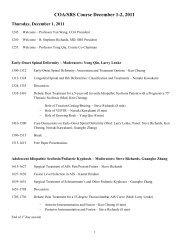 COA/SRS Course December 1-2, 2011