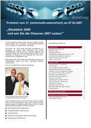 """""""Rückblick 2006 und wie Sie die Chancen 2007 nutzen"""""""