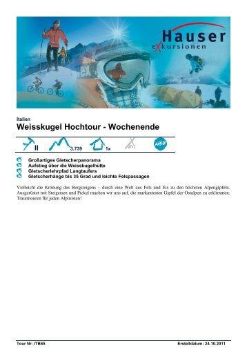 Weisskugel Hochtour - Wochenende - Hauser exkursionen