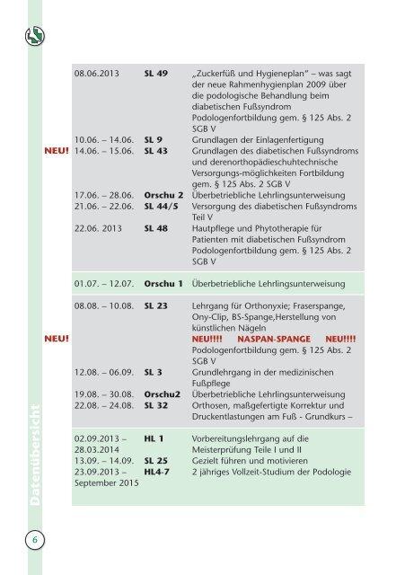 lehrgangsprogramm 201 3 - Bundesfachschule für Orthopädie ...