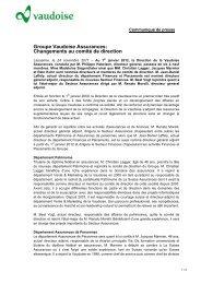 Groupe Vaudoise Assurances: Changements au comité de direction