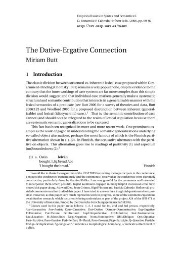 The Dative-Ergative Connection - CSSP