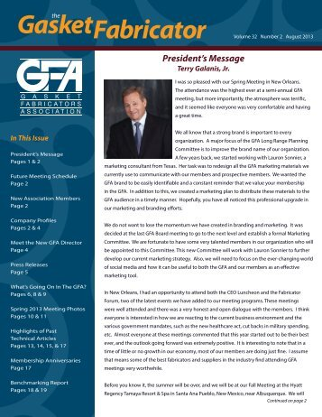 August 2013 - Gasket Fabricators Association