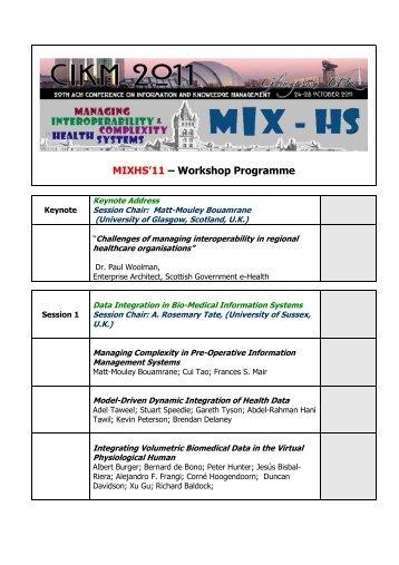 MIXHS'11- Workshop Programme - Mayo Clinic Informatics